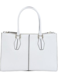 Tod's White And Grey Leather Structured Top Handle Tote