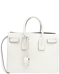Saint Laurent White Leather Small Sac De Jour Convertible Tote