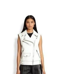 Alexander Wang Leather Biker Vest Cellophane