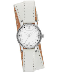 Burberry 30mm Round Stainless Watch With Double Wrap White Leather Strap