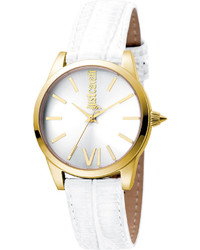Just Cavalli 32mm Relaxed Watch W White Leather Strap