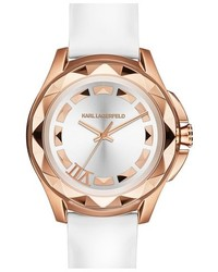 Karl Lagerfeld 7 Faceted Bezel Leather Strap Watch 44mm