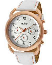 A Line 80012 Rg 02 Wh Sset White Genuine Leatherred Stitchingsilver Wrist Watches