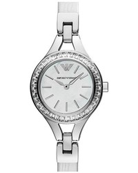 Emporio Armani Baguette Crystal Bezel Leather Strap Watch 28mm