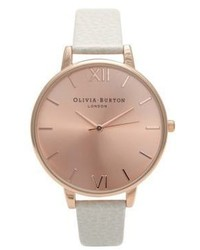 Olivia Burton Big Dial Stainless Steel Leather Strap Watch