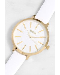 Breda Joule White Leather Watch