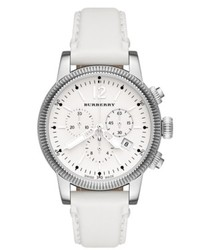 Burberry Watch Swiss Chronograph White Leather Strap 42mm Bu7821