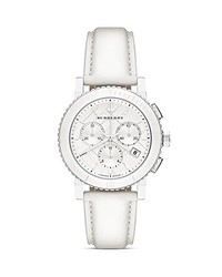 Burberry White Ceramic Leather Chrono Watch 38mm