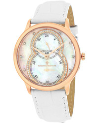 Christian Van Sant Christian Van Sant Infinie Mother Of Pearl White Leather Strap Watch