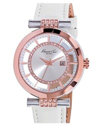 Kenneth Cole New York Crystal Accent Leather Strap Watch 36mm
