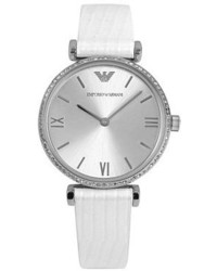 Emporio Armani Crystal Bezel Embossed Leather Strap Watch 32mm