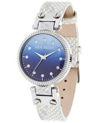 Steve Madden Crystal Glass And Leather Watch
