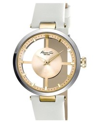 Kenneth Cole New York Cutout Dial Leather Strap Watch 36mm