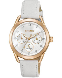 Citizen Drive From Eco Drive Chronograph White Leather Strap Watch 38mm