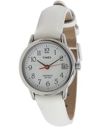 Timex Easy Reader White Leather Strap Watches