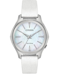 Citizen Eco Drive Silhouette Limited Edition Billie Jean King Modena White Leather Strap Watch 35mm