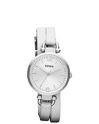Fossil Georgia White Leather Strap Watch