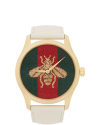 Gucci Gold And White Leather Bee G Timeless Watch