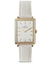 Shinola Gomelsky Shirley Fromer Gold Tone Leather Strap Watch