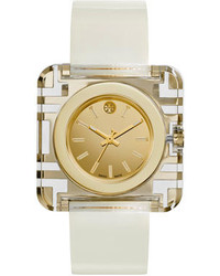 Tory Burch Izzie Leather Strap Golden Watch White