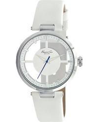 Kenneth Cole New York Kc2609 White Leathersilverwhite Wrist Watches