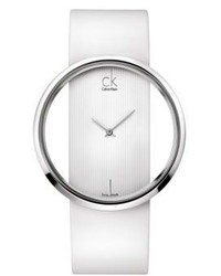 Calvin Klein Ladies Swiss Glam Stainless Steel White Leather Strap Watch