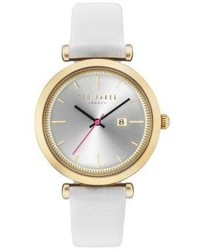 Ted Baker London Ava Goldtone And White Leather Watch
