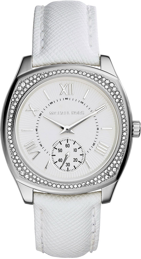 Michael Kors Michl Kors Bryn Stainless Leather Strap Watch White