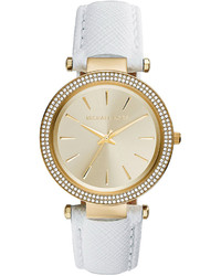 Michael Kors Michl Kors Darci Leather Glitz Watch White