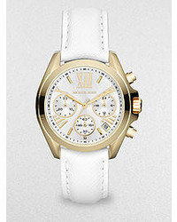 Michael Kors Michl Kors Goldtone Stainless Steel Leather Chronograph Watch