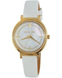 MICHAEL Michael Kors Michl Michl Kors 33mm Round Glitz Watch W Leather Strap White