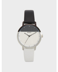 DKNY Modernist Black And White Leather Watch