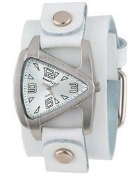 Nemesis Wgb024s Small Triangle White On White Leather Cuff Quartz Watch