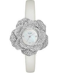 Kate Spade New York Crystal Rose White Leather Band Watch 26mm Ksw1316