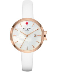 Kate Spade New York Park Row White Leather Strap Watch 34mm Ksw1270