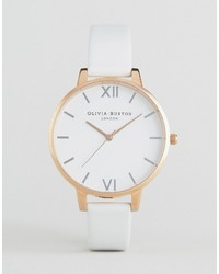 Olivia Burton Oliva Burton White Big Dial Leather Watch