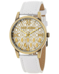 Steve Madden Perforated Leather Strap Watch