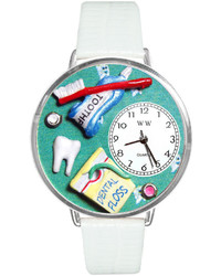 Whimsical Watches Personalized Dental Assistant Silver Tone Bezel White Leather Strap Watch