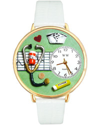 Whimsical Watches Personalized Nurse Gold Tone Bezel White Leather Strap Watch