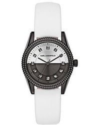 Karl Lagerfeld Petite Stud White Leather Strap Watch