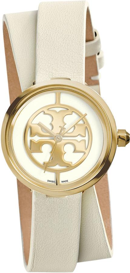 Tory Burch Reva Double Wrap Leather Watch Whitegolden