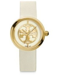 Tory Burch Reva Goldtone Stainless Steel Leather Strap Watchwhite