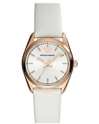 Emporio Armani Round Saffiano Leather Strap Watch 26mm
