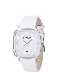 Skagen Designer White Leather Watch