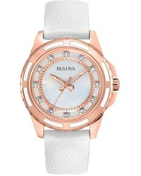 Bulova Stainless Steel Rose Gold Tone Diamond Accent Mother Of Pearl Leather Watch 98p119