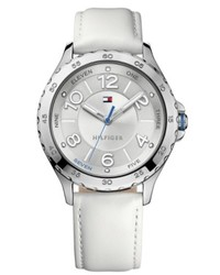 Tommy Hilfiger White Leather Strap Watch 40mm 1781399