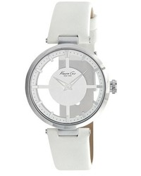 Kenneth Cole New York Transparent Dial Leather Strap Watch 36mm
