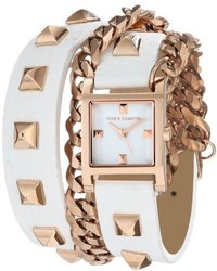 Vince Camuto Vc5088rgwt Rose Gold Tone Pyramid Studded Double Wrap White Leather Strap Watch