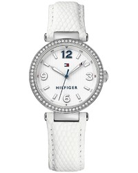 Tommy Hilfiger White Dress Watch With Jeweled Bezel