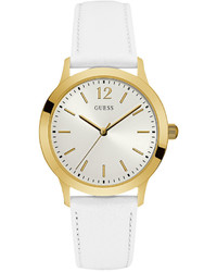 GUESS White Leather Strap Watch 39mm U0922g9